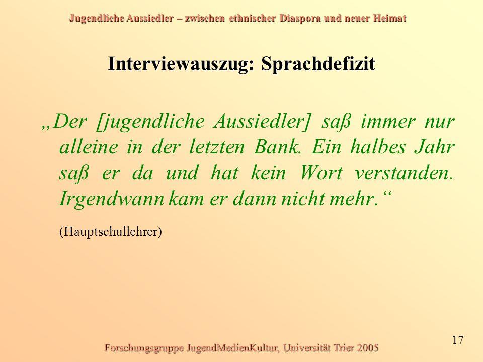 Interviewauszug: Sprachdefizit