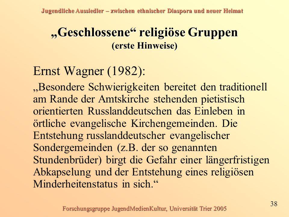 """""""Geschlossene religiöse Gruppen (erste Hinweise)"""
