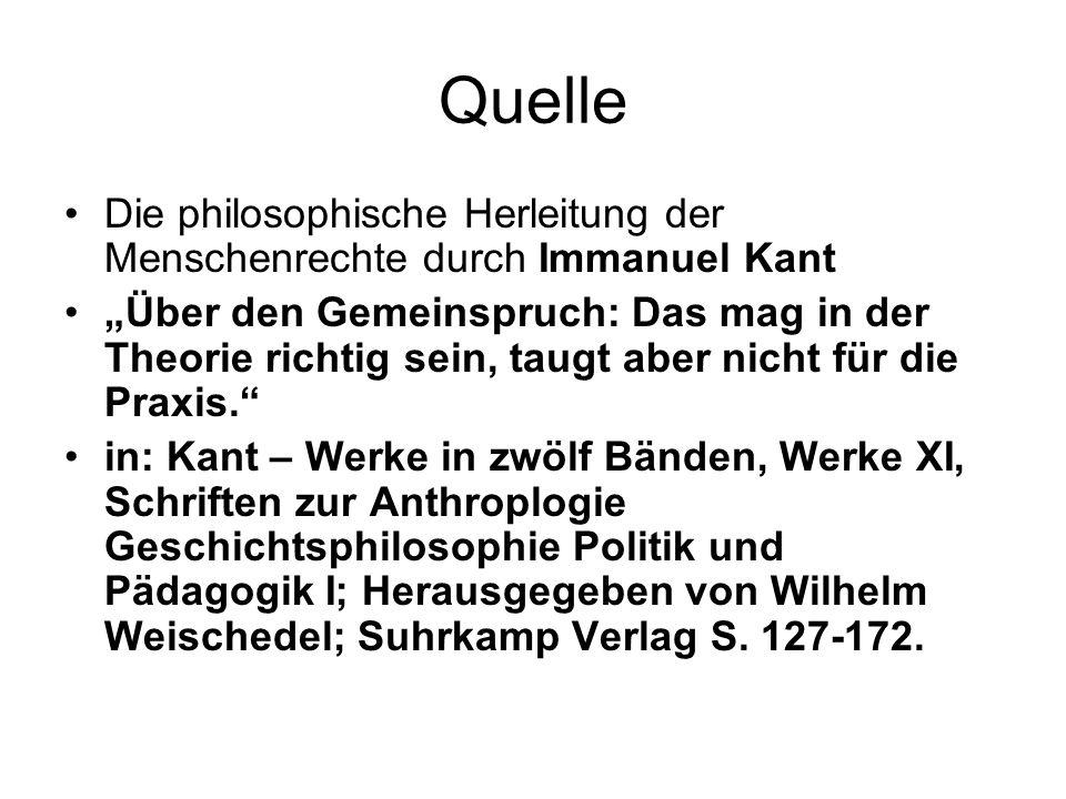Quelle Die philosophische Herleitung der Menschenrechte durch Immanuel Kant.