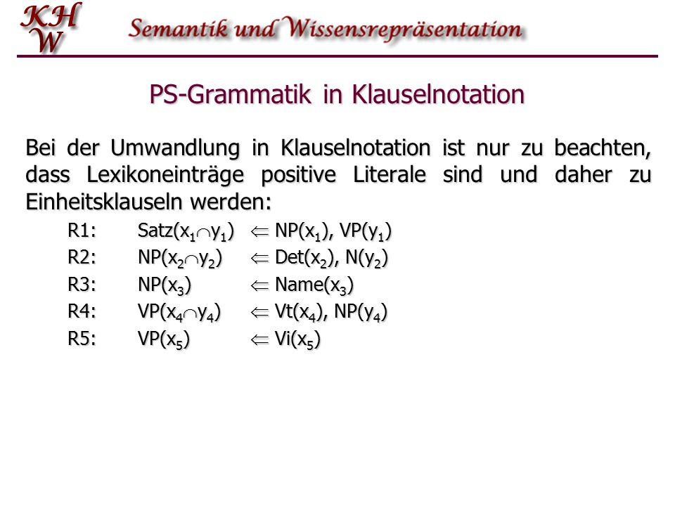 PS-Grammatik in Klauselnotation