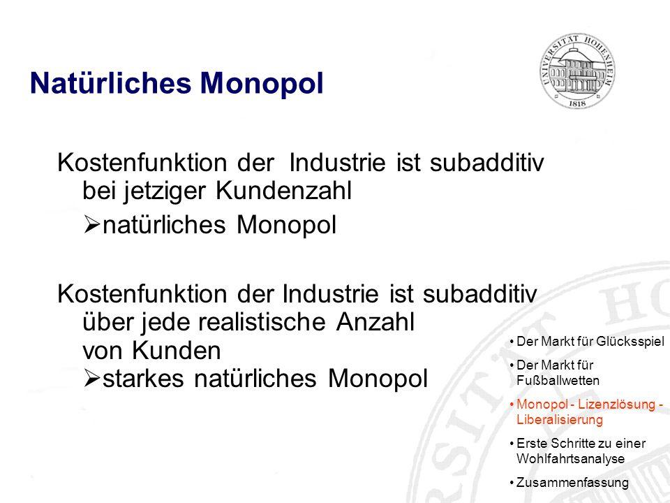 Natürliches Monopol Kostenfunktion der Industrie ist subadditiv bei jetziger Kundenzahl. natürliches Monopol.