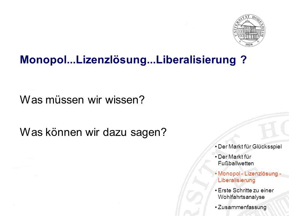 Monopol...Lizenzlösung...Liberalisierung