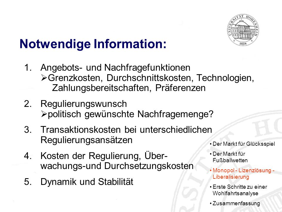 Notwendige Information: