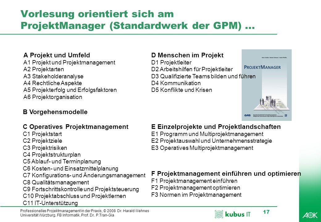 Vorlesung orientiert sich am ProjektManager (Standardwerk der GPM) ...