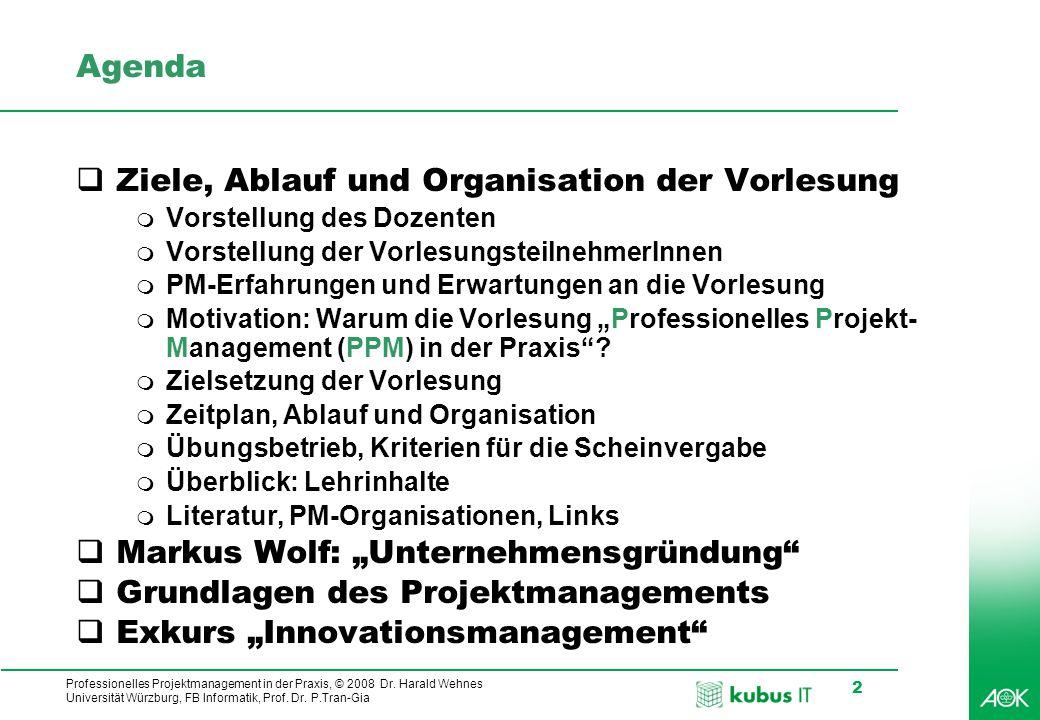 Ziele, Ablauf und Organisation der Vorlesung