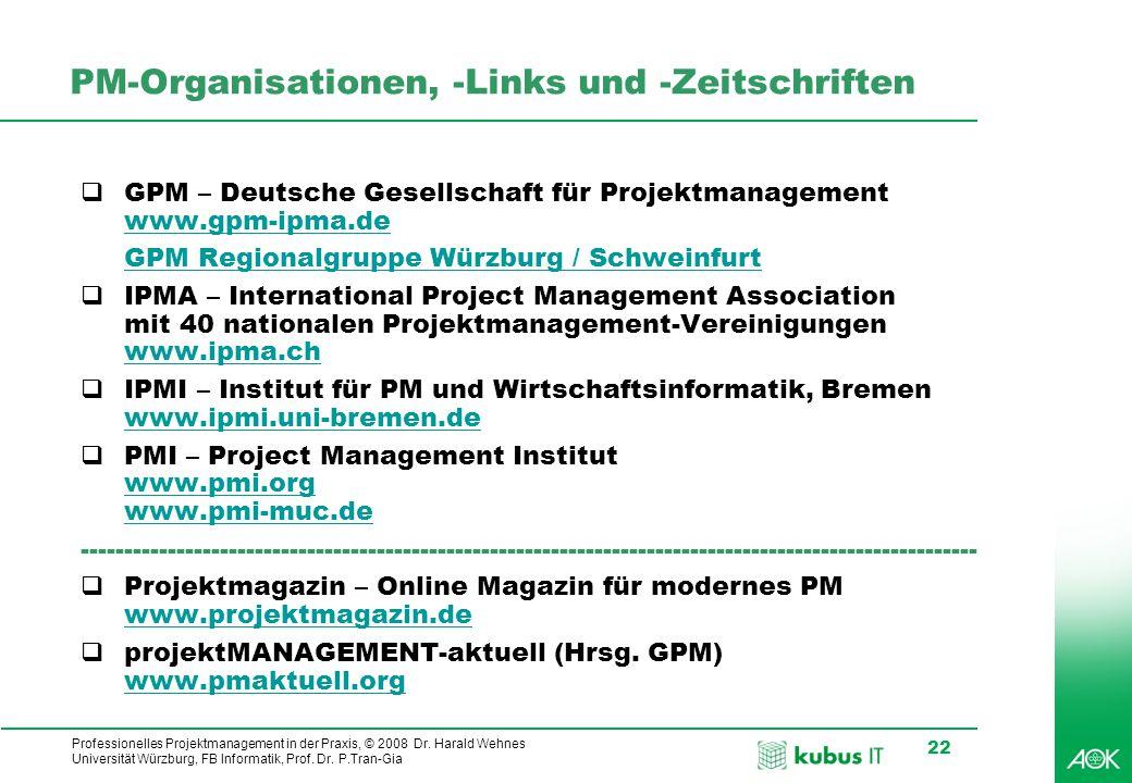 PM-Organisationen, -Links und -Zeitschriften