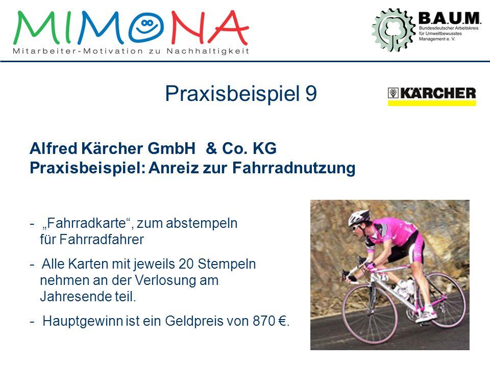 """Praxisbeispiel 9 Alfred Kärcher GmbH & Co. KG Praxisbeispiel: Anreiz zur Fahrradnutzung. """"Fahrradkarte , zum abstempeln für Fahrradfahrer."""