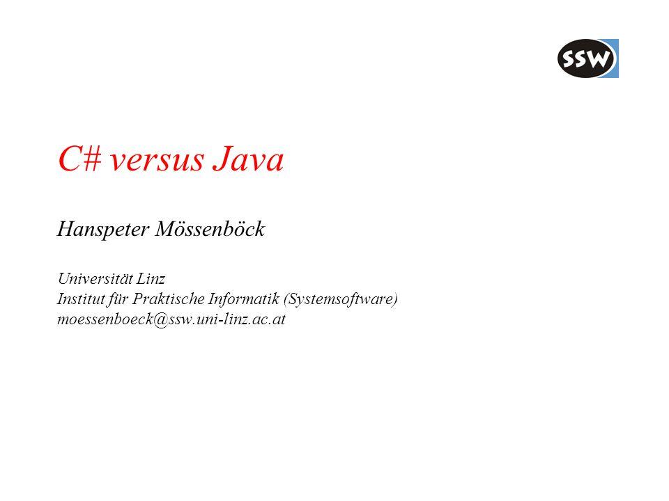 C# versus Java Hanspeter Mössenböck Universität Linz Institut für Praktische Informatik (Systemsoftware) moessenboeck@ssw.uni-linz.ac.at