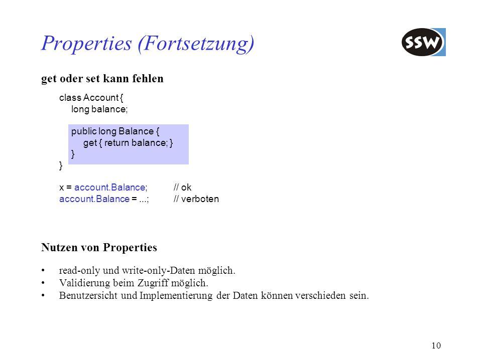 Properties (Fortsetzung)