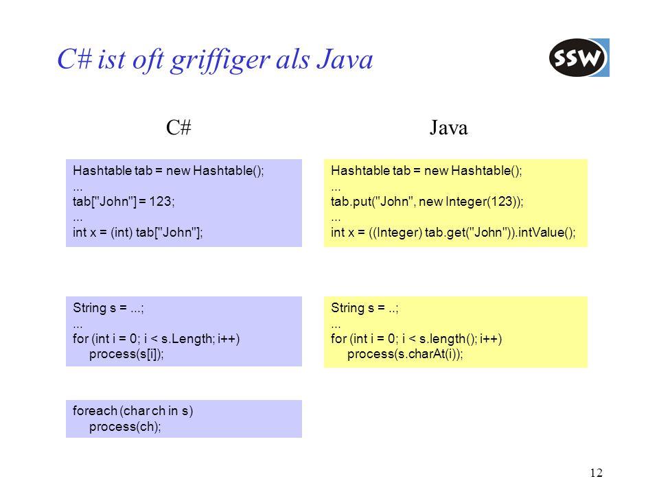 C# ist oft griffiger als Java