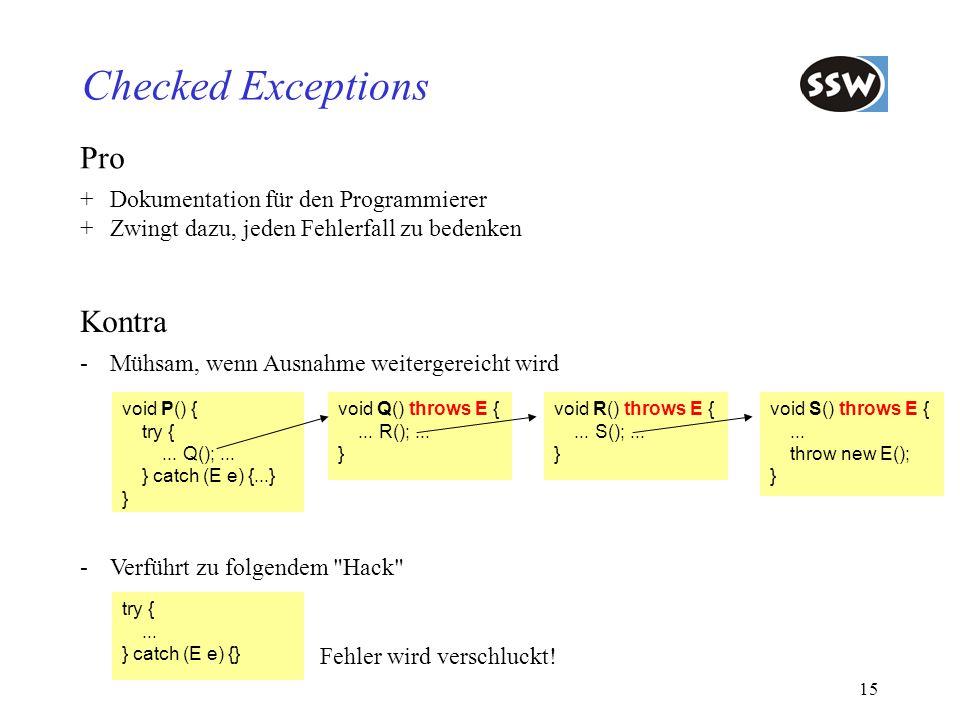 Checked Exceptions Pro Kontra + Dokumentation für den Programmierer