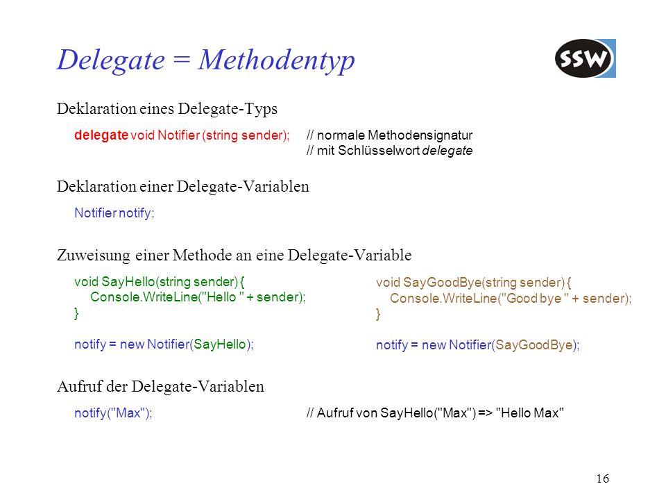 Delegate = Methodentyp