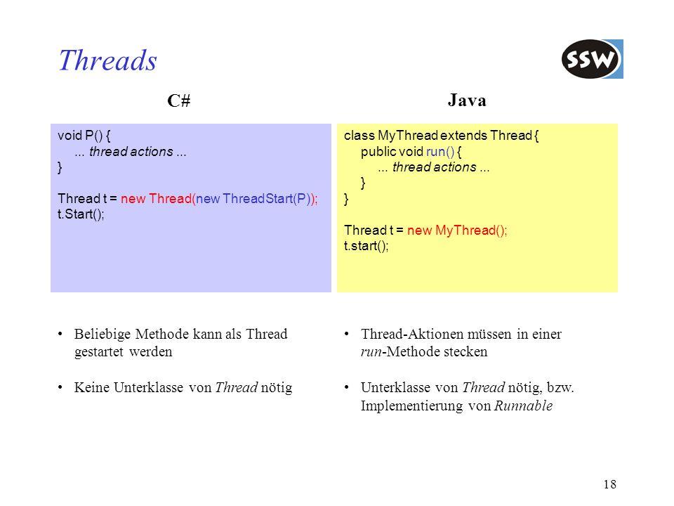 Threads C# Java Beliebige Methode kann als Thread gestartet werden