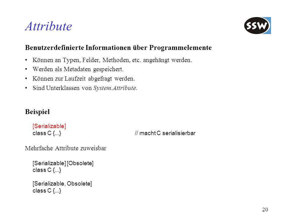 Attribute Benutzerdefinierte Informationen über Programmelemente