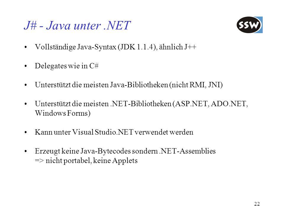 J# - Java unter .NET Vollständige Java-Syntax (JDK 1.1.4), ähnlich J++