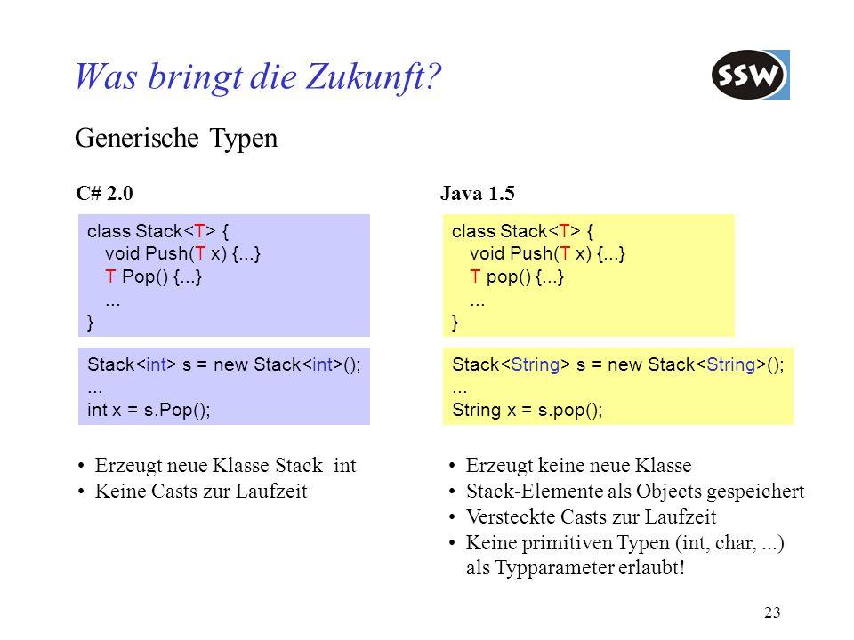 Was bringt die Zukunft Generische Typen C# 2.0 Java 1.5