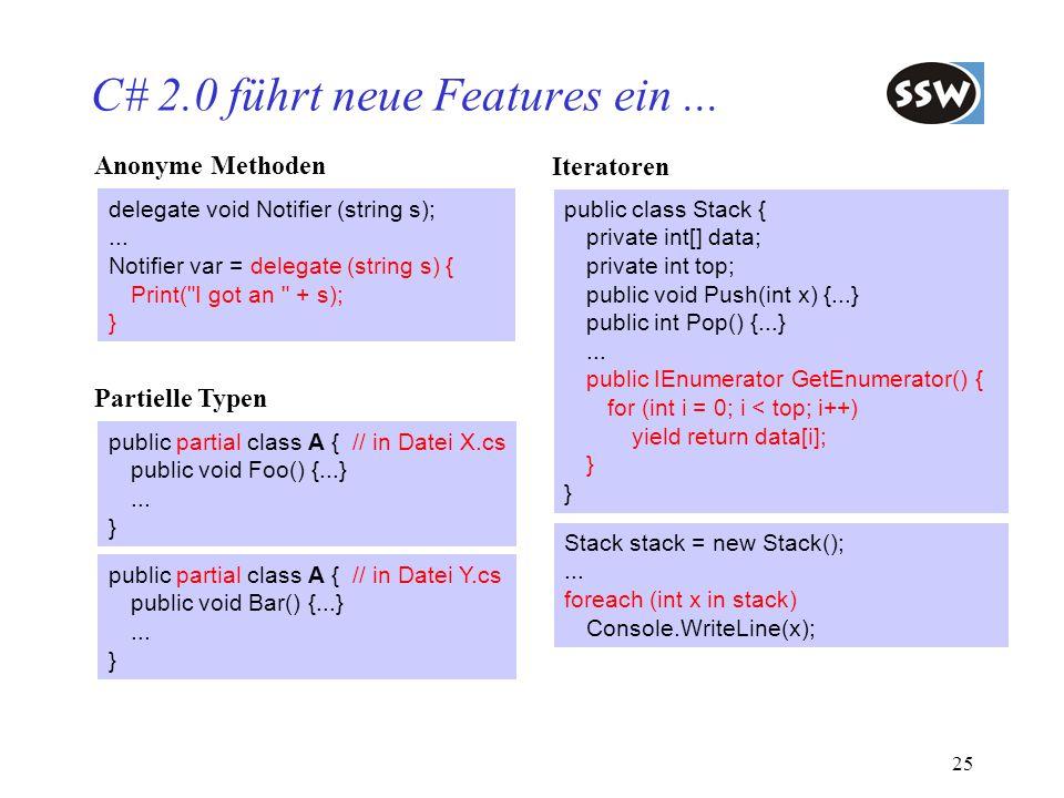 C# 2.0 führt neue Features ein ...