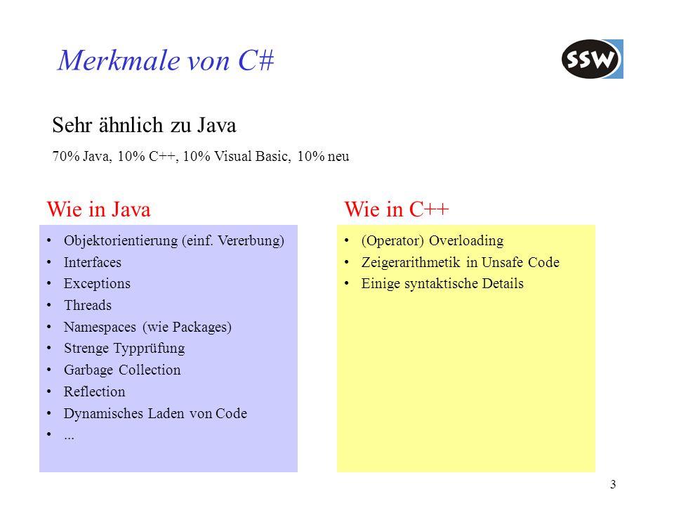Merkmale von C# Sehr ähnlich zu Java Wie in Java Wie in C++