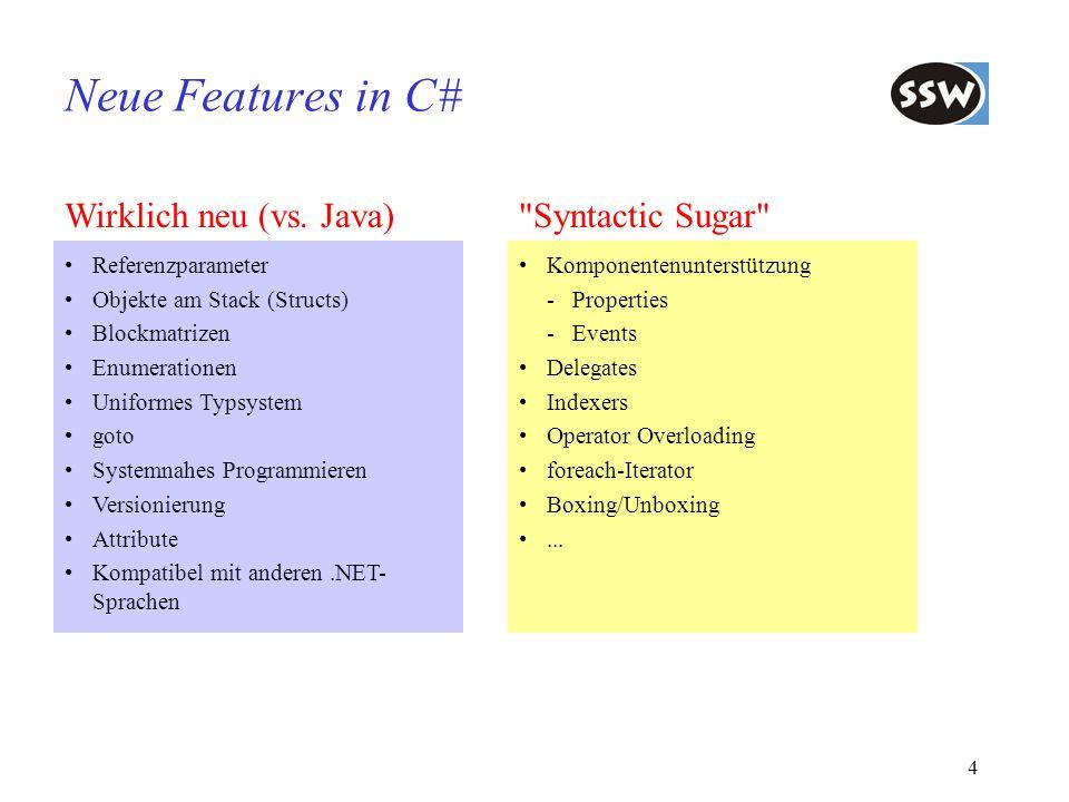Neue Features in C# Wirklich neu (vs. Java) Syntactic Sugar