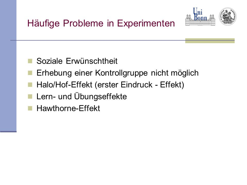 Häufige Probleme in Experimenten