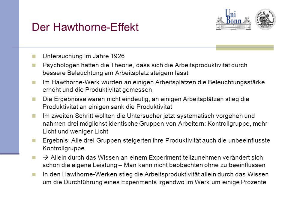 Der Hawthorne-Effekt Untersuchung im Jahre 1926