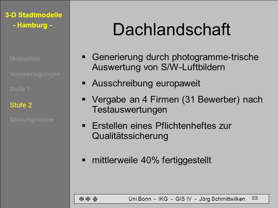 Dachlandschaft Generierung durch photogramme-trische Auswertung von S/W-Luftbildern. Ausschreibung europaweit.