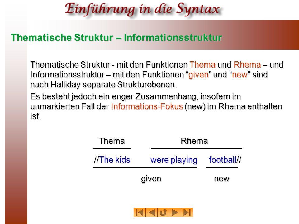 Thematische Struktur – Informationsstruktur