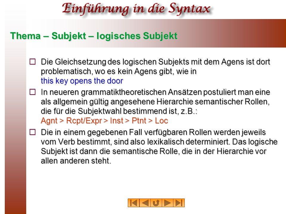 Thema – Subjekt – logisches Subjekt