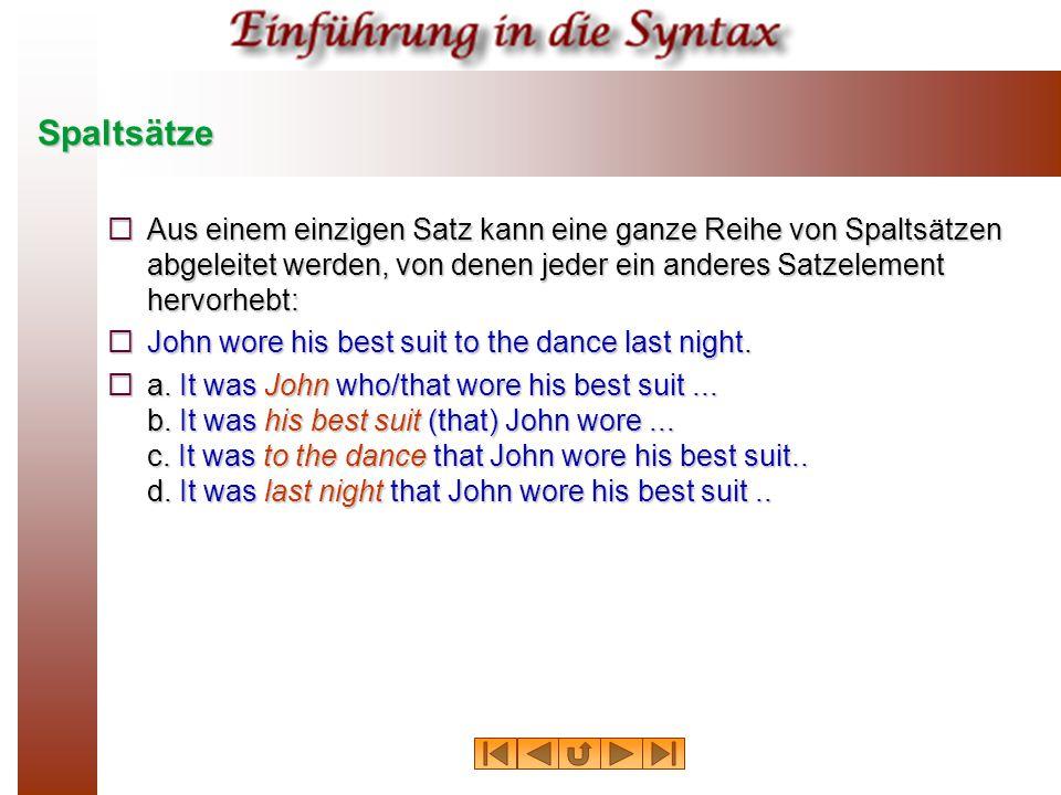 Spaltsätze Aus einem einzigen Satz kann eine ganze Reihe von Spaltsätzen abgeleitet werden, von denen jeder ein anderes Satzelement hervorhebt: