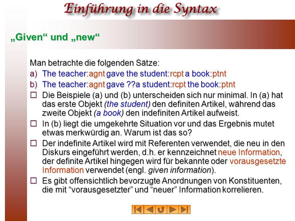 """""""Given und """"new Man betrachte die folgenden Sätze:"""