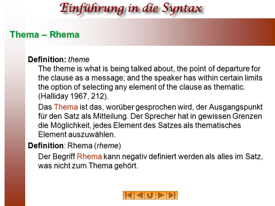 Thema – Rhema