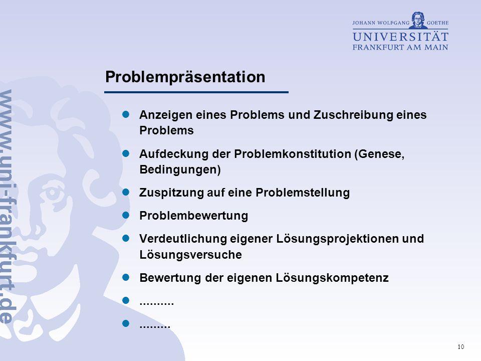 Problempräsentation Anzeigen eines Problems und Zuschreibung eines Problems. Aufdeckung der Problemkonstitution (Genese, Bedingungen)