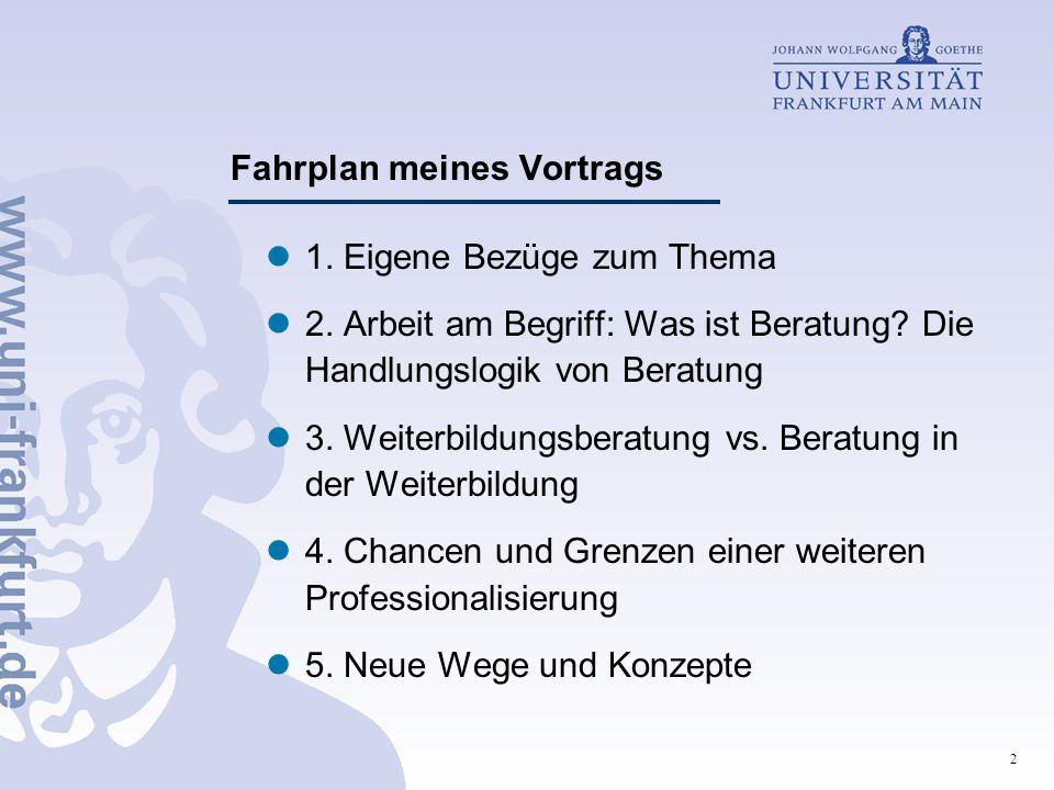 Fahrplan meines Vortrags