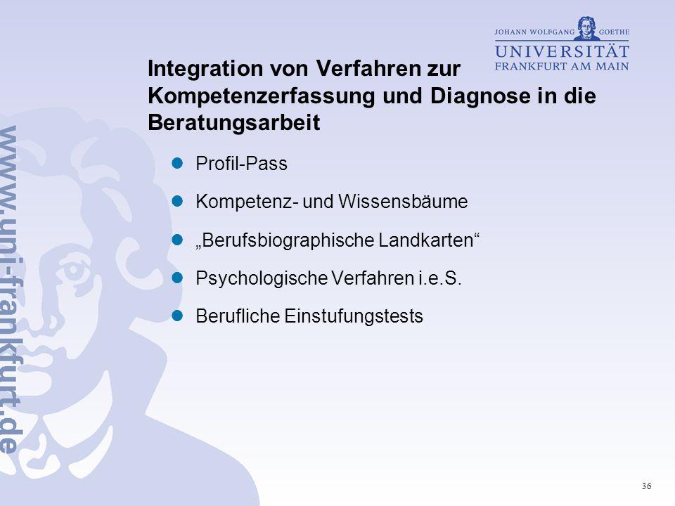 Integration von Verfahren zur Kompetenzerfassung und Diagnose in die Beratungsarbeit