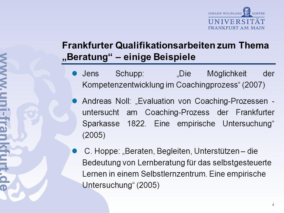 """Frankfurter Qualifikationsarbeiten zum Thema """"Beratung – einige Beispiele"""