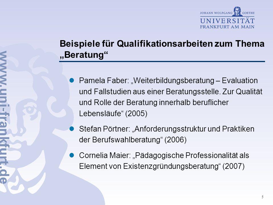 """Beispiele für Qualifikationsarbeiten zum Thema """"Beratung"""