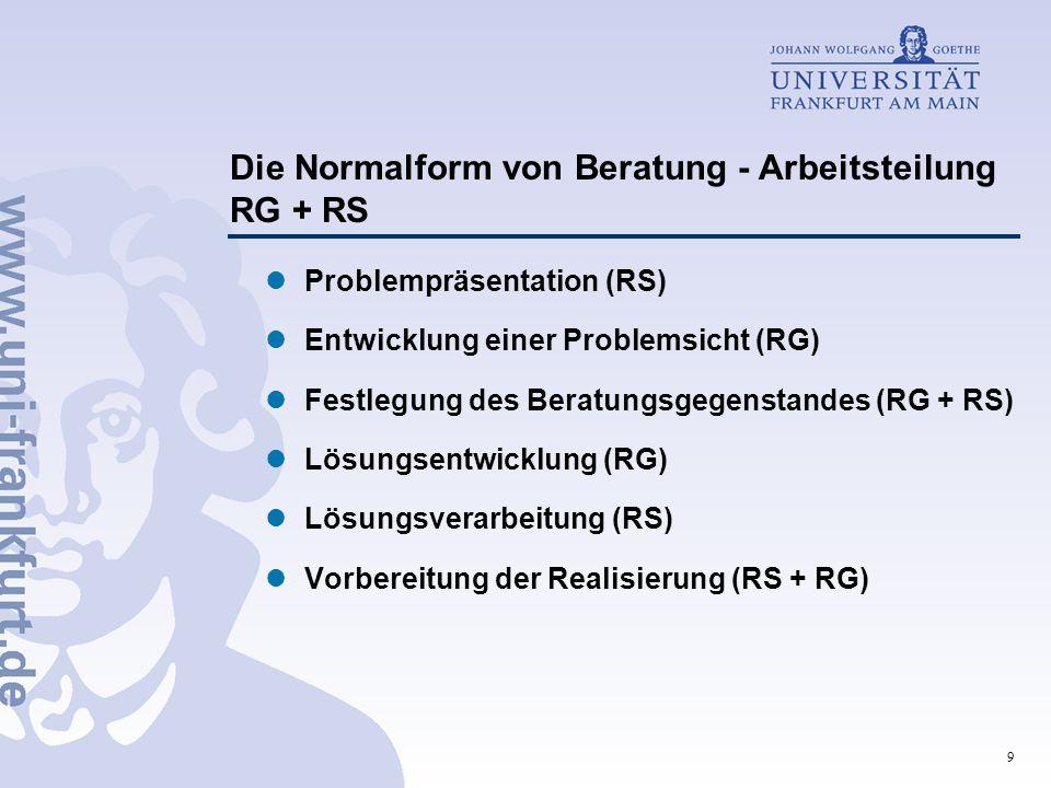 Die Normalform von Beratung - Arbeitsteilung RG + RS