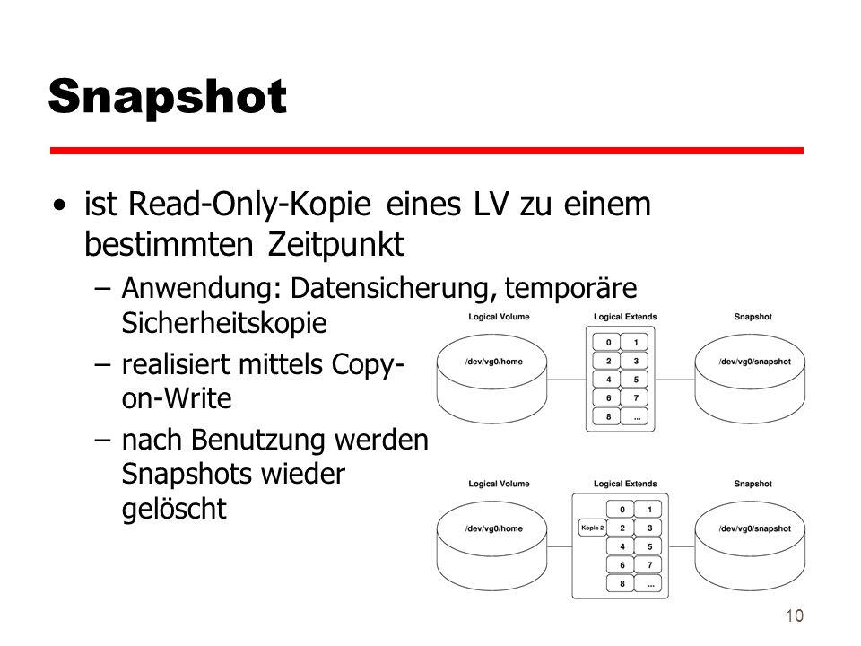 Snapshot ist Read-Only-Kopie eines LV zu einem bestimmten Zeitpunkt