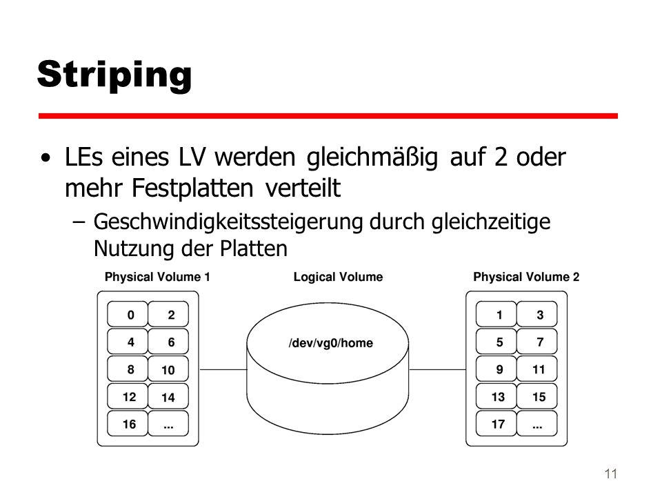 Striping LEs eines LV werden gleichmäßig auf 2 oder mehr Festplatten verteilt.