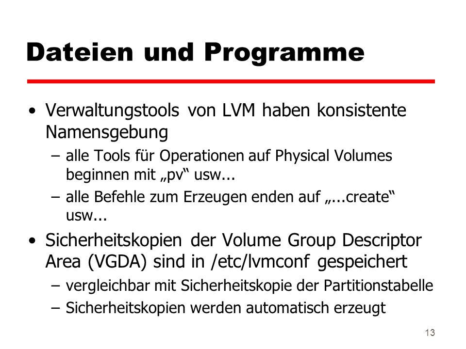 Dateien und Programme Verwaltungstools von LVM haben konsistente Namensgebung.