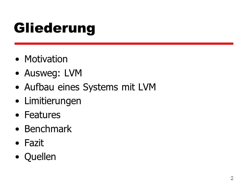 Gliederung Motivation Ausweg: LVM Aufbau eines Systems mit LVM