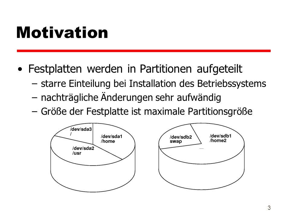 Motivation Festplatten werden in Partitionen aufgeteilt