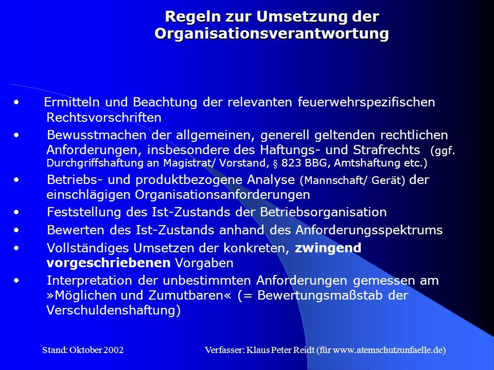 Regeln zur Umsetzung der Organisationsverantwortung