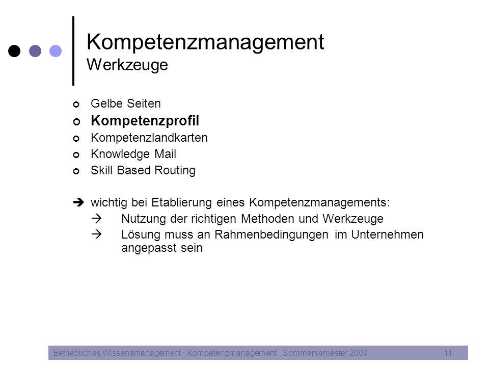 Kompetenzmanagement Werkzeuge