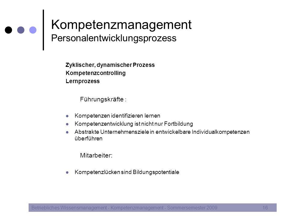 Kompetenzmanagement Personalentwicklungsprozess