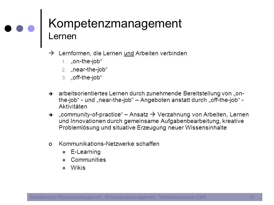 Kompetenzmanagement Lernen
