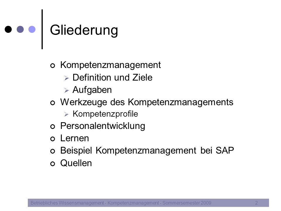 Gliederung Kompetenzmanagement Definition und Ziele Aufgaben