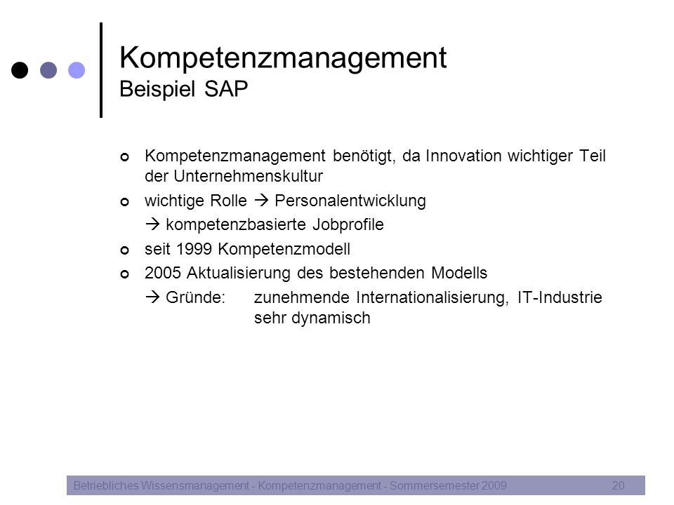 Kompetenzmanagement Beispiel SAP
