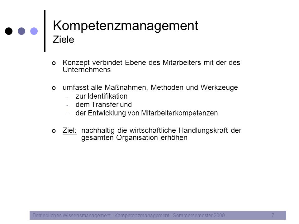 Kompetenzmanagement Ziele