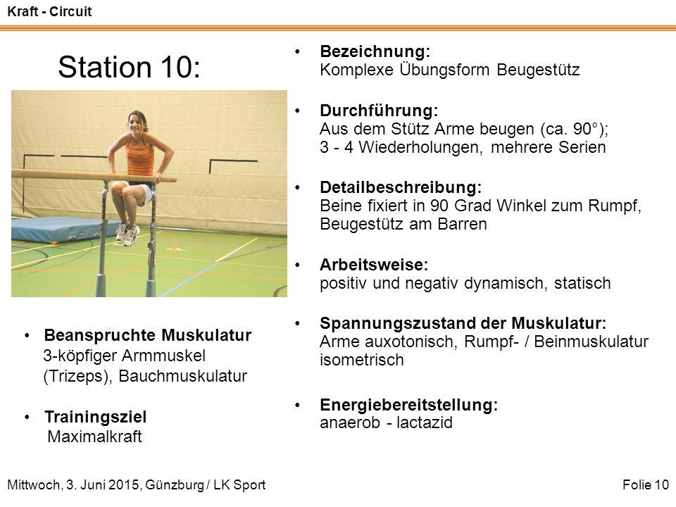 Station 10: Bezeichnung: Komplexe Übungsform Beugestütz